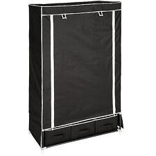 Cupboard clothes folding wardrobe textile camping shelf storage 3 drawers black