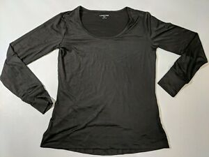 Lands' End Women's Petite Thermaskin Heat Longsleeve Scoopneck Black XSmall NWOT