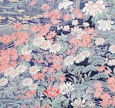 Japanese vintage kimono silk fabric Water Garden