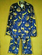 Nick & Nora Girls Size XL 14-16 Flannel 2 Pc PJs Pajama Set Sock Monkeys Bananas