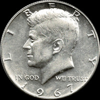 "A 1967 P Kennedy Half Dollar 40% SILVER US Mint ""About Uncirculated"""
