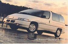 1992 Pontiac Trans Sport GT ORIGINAL Factory Postcard my0248