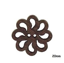 20 Hollow Flower Shape 2 Hole Wooden Buttons 20mm Brown, Crafts, Sewing - BU1163