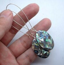 Silver Earrings - Kidney Wire A0918 Quality Green Paua Abalone Shell Sterling