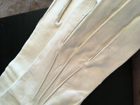 Vintage White Leather Gloves Womens Soft Size 6.5