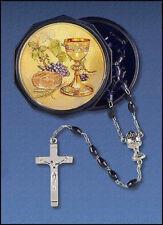 First Communion Gift Everlasting Life 6MM Black Bead Rosary Keepsake Case, 18 In