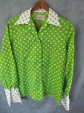 Vintage 60's Adelaar Shirt Size 12 Lime Green & White Polka Dot French Cuffs