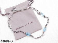 "Retired David Yurman Bijoux Blue Topaz Necklace Sterling Silver and 18k Gold 17"""