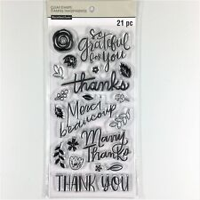 Recollections Thank You Clear Stamp Set Grateful Thanks Phrases Flower Leaves