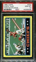 1986 Topps Football #303 Chiefs Team Todd Blackledge PSA 10 Gem Mint