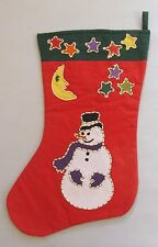 Crate and Barrel Christmas Stocking Snowman Tag Textiles Handstitched 1993 VTG