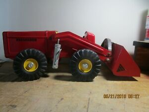 VINTAGE NYLINT PRESSED STEEL HOUGH PAYLOADER RED TOY TRACTOR CONSTRUCTION