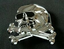SKULL & CROSSBONES SOLID BRASS SHINY CHROME PLATED BELT BUCKLE 78 BARON BUCKLES
