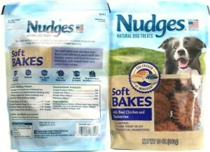 2 Bags Nudges 10 Oz Soft Bakes Real Chicken & Blueberries Natural Dog Treats