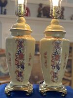 Vintage Chinese Porcelain Hand Painted Table Lamps (pair) w/Heavy Brass Base Sq
