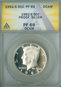 1992-S SILVER PROOF KENNEDY HALF DOLLAR ANACS PF 69DCAM FREE S/H (2126544)