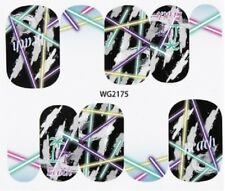Nail Art Stickers Water Decals Transfers Beach Stripes (WG2175)