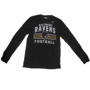 New Men's NFL Baltimore Ravens Waffle Long Sleeve Shirt Black Med-2X Football