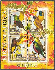 Palestinian National Authority Birds of Africa II Sunbirds Sheet of 4 MNH**