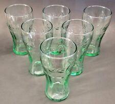 "Set of 6 Mini Green Tint Coca Cola (Coke) Glasses 4.5""  Tall  Jucie Pop Soda 6oz"