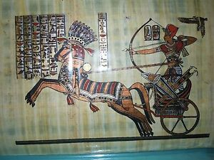 Egyptian AuthenticPapyrus Art-Brand new-Egyptian soldier with warhorse Carriage