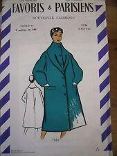 ANCIEN PATRON Favoris & Parisiens -Vintage French  MANTEAU COL CHÂLE  1940/50