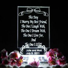 "Lighted Wedding Cake Topper Acrylic LED top ""Your Own Words"" Lights Up Custom"