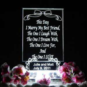 """Personalized LED """"Your Own Words"""" Wedding Cake Topper Acrylic Custom Anniversary"""