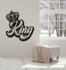Vinyl Wall Decal Crown Lettering King Sign Kingdom Home Decor Stickers (g3694)