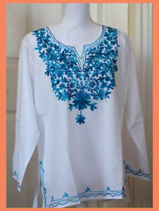 Teal Embroidered Flowers White Color Cotton Tunic Top Kurti from India Medium