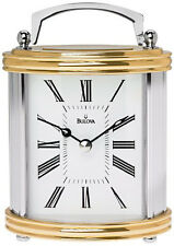 BULOVA- SMALL CARRIAGE STYLE  CLOCK -GOLD TONE WITH SILVER ACCENTS B1383