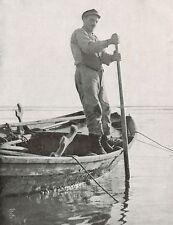D1685 Venezia - La pesca delle seppie nella Laguna - Stampa antica - 1926 print