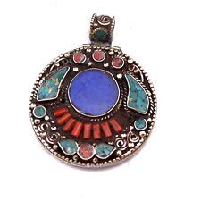 Turquoise Coral Lapis Brass Pendant Tibetan Nepalese Handmade Nepal PD721
