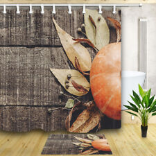 Pumpkin on wooden board Bathroom Shower Curtain Waterproof Fabric 12 Hooks 71in