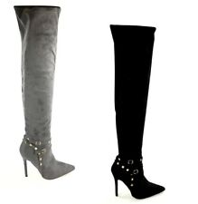 Suede Long Over The Knee Thigh High Stiletto Boots With Stud Detail  AB19