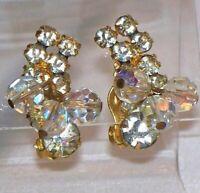 Vintage High End Estate Gold Tone Aurora Borealis & Rhinestone Clip Earrings