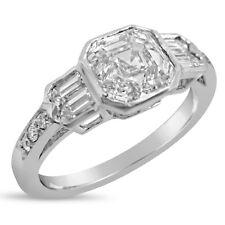 Asscher Forever One Moissanite & Diamonds Bezel Engagement Ring 14k White Gold