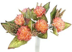 Dahlien Pfingstrosen Strauß 30 cm dunkel orange künstlich Bouquet Tisch (30632)