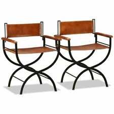 vidaXL 2x Folding Chairs Genuine Leather 59x48x77cm Black and Brown Dining