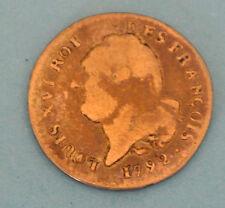 LOUIS XVI tirage peu 15 SOLS ARGENT 1792 MONTPELLIER