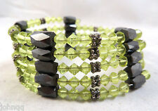 "Wrap Style Green Magnetic (Hematite) Cloisonne Bracelet/Necklace 36"" - NEW"