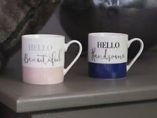 Ava & I HELLO BEAUTIFUL and HANDSOME MUGS His & Hers Mug Set MARBLE Design