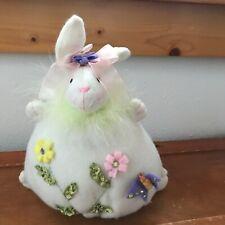 Estate Chubby Cream Felt Stuffed Easter Spring Bunny Figurine w Stitched Flowers