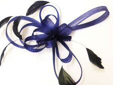 Beautiful Large Coiled Net And Feather Fascinator On Comb Lovely Colours Navy