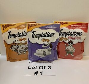 TEMPTATIONS (Lot Of 3) Mega Pouch Cat Treats All Cats Love:)(Buyers Choice!)NWT!