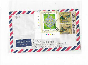 Malaysia Year 2000's cover from Johor postally sent to Singapore 1pc local stamp