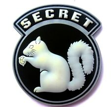 TOP SECRET SQUIRREL BLACK OPS ARMY CIA DEVGRU DELTA SF PVC Hook/Lp PATCH WHITE