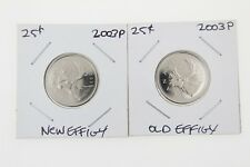 Canada 25 Cent Quarter Collection - 2003P Quarter Set (2) New Effigy +Old Effigy