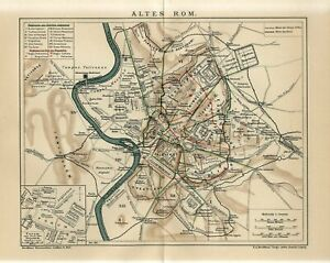 1912 ANCIENT ROME CITY and SUBURBS ITALY Antique Map dated