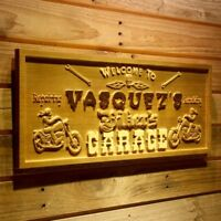 wpa0124 Name Personalized Biker's Garage Motorcycle Skull Wooden Sign